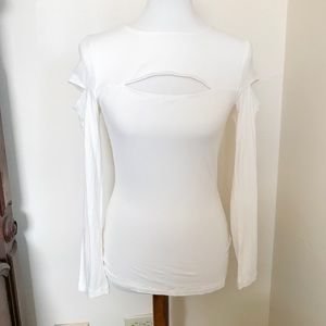 NWT Bebe Cream Colored Ribbed Cutout Top Size M